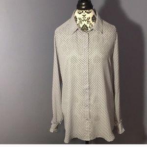 Grey white black dots blouse